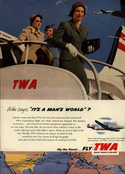 """Trans World Airline's TWA Constellation – Who says, """"It's A Man's World""""? (1953)"""