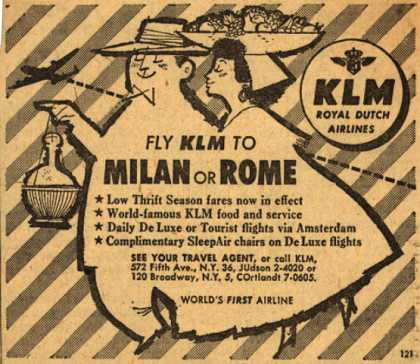 KLM Royal Dutch Airline's Milan or Rome – Fly KLM to Milan or Rome (1954)
