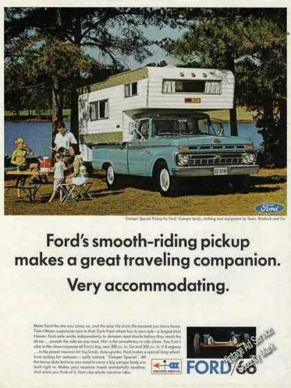 Ford Camper Special Pickup Family By Stream (1966)
