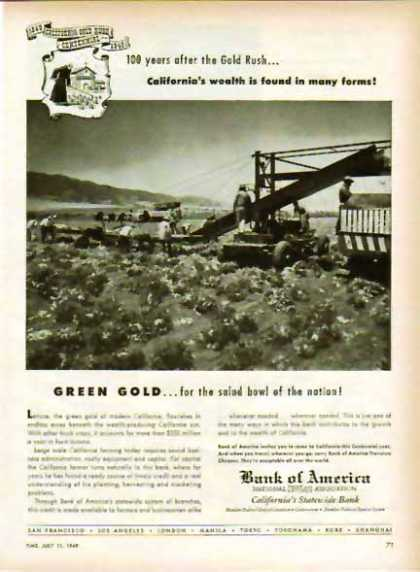 Bank of America – California's Statewide Bank- Green Gold (1949)