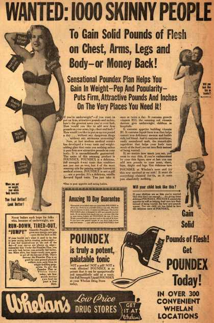 Unknown's Poundex – Wanted: 1000 Skinny People To Gain Solid Pounds of Flesh on Chest, Arms, Legs and Body – or Money Back (1953)