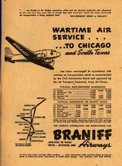 Braniff Airway's Wartime Schedules – WARTIME AIR SERVICE... TO CHICAGO AND SOUTH TEXAS (1943)