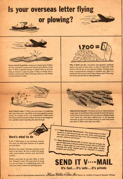 Hiram Walker & Son's V-Mail – Is your overseas letter flying or plowing? (1944)