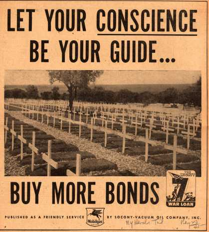 Mobil's 7th War Loan – Let Your Conscience Be Your Guide... Buy More Bonds (1945)