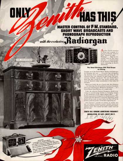 Zenith Radio Corporation's various – ONLY ZENITH HAS THIS (1941)