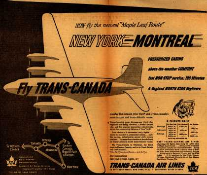 """Trans-Canada Air Lines – NOW fly the newest """"Maple Leaf Route"""" (1950)"""