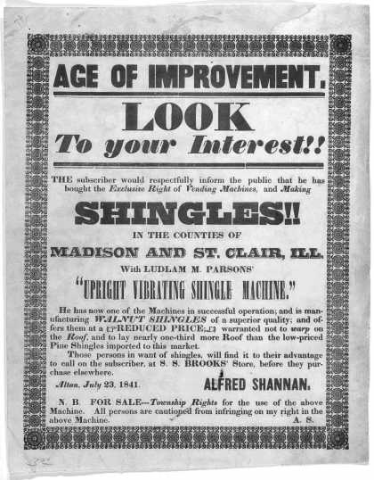 Age of improvement. Look to your interest!! The subscriber would respectfully inform the public that he has bought the exclusive right of vending mach (1841)
