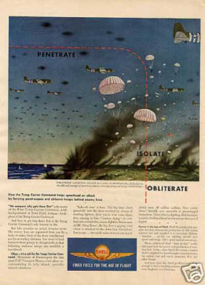 Wwii Shell Ad Paratroop Landing (1944)