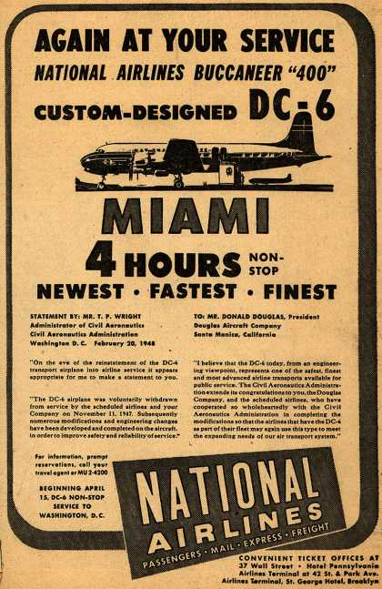 """National Airline's DC-6 Buccaneer """"400"""" – Again At Your Service National Airlines Buccaneer """"400"""" Custom-Designed DC-6 (1948)"""