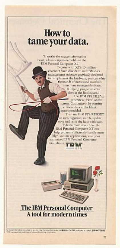 IBM PC XT Computer Tame Your Data Little Tramp (1983)