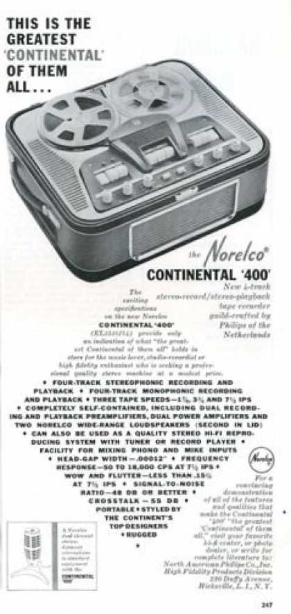 Norelco Continental 400 Tape Recorder (1961)