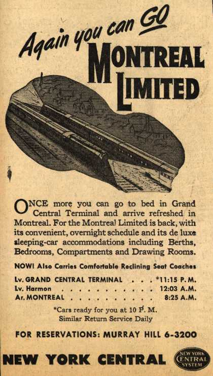 New York Central System's Montreal – Again you can Go Montreal Limited (1946)