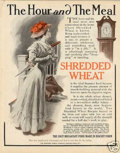 """Shredded Wheat Color Ad """"The Hour and the Meal... (1909)"""