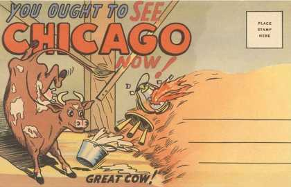 Cartoon of O'Leary's Cow, Chicago, Illinois