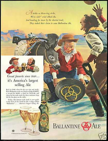 Gold Miners Pan Ballantine Ale Beer (1947)