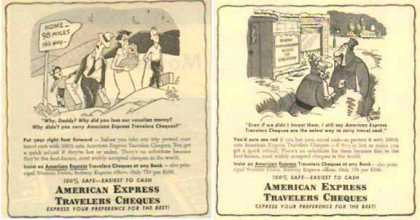 American Express Travelers Cheques Ads – Set of Two (1952)