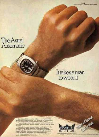 """Astral Automatic Wristwatch """"It Takes a Man"""" Uk (1974)"""