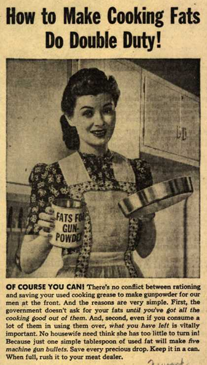 War Production Board's Cooking Fats – How to Make Cooking Fats Do Double Duty (1943)