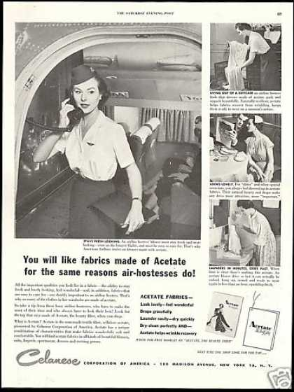 American Airlines Stewardess Celanese Fabric (1952)