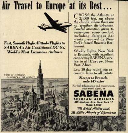 Sabena Belgian Airlines – Air Travel to Europe at its Best... (1949)