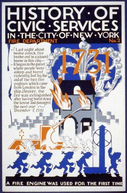 History of civic services in the city of New York – Fire Department No. 2 – A fire engine was used for the first time. (1936)