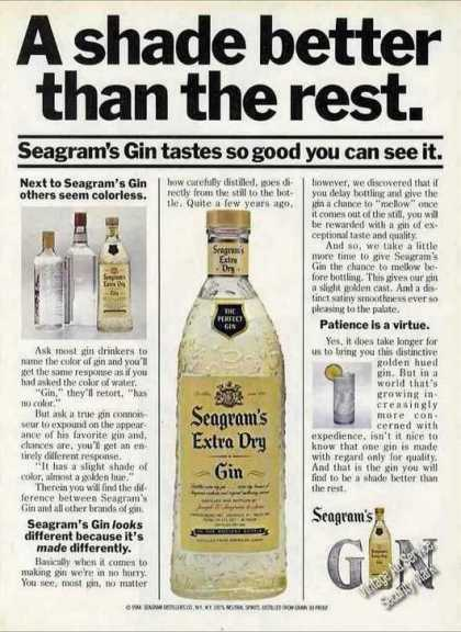 """Seagram's Gin """"A Shade Better Than the Rest"""" (1984)"""