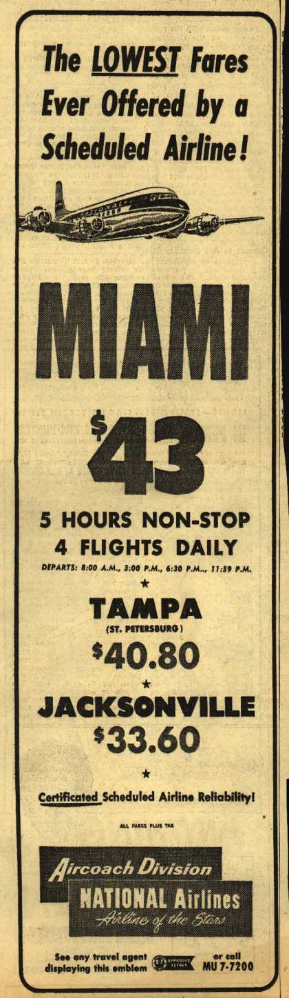 National Airline's Miami – The LOWEST Fares Ever Offered by a Scheduled Airline (1952)