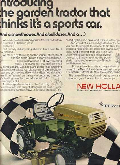 """New Holland's """"Introducing the garden tractor that thinks it's a sports car. (And a snowthrowe (1971)"""