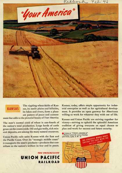 """Union Pacific Railroad's Middle Route – """"Your America"""" Kansas (1945)"""