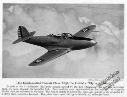 """Bell Airacobra """"Flying Cannon"""" Magazine Photo (1940)"""