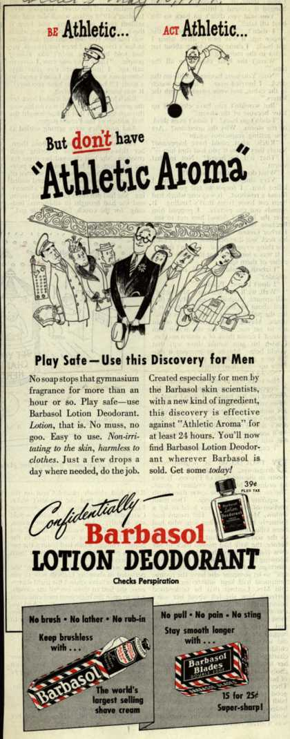"""Barbasol – Be Athletic... Act Athletic... But don't have """"Athletic Aroma"""" (1947)"""