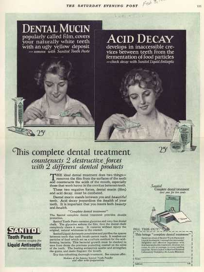 Sanitol Chemical Laboratory Company's Sanitol Tooth Paste and Liquid Antiseptic – This complete dental treatment counteracts 2 destructive forces with 2 different dental products (1923)