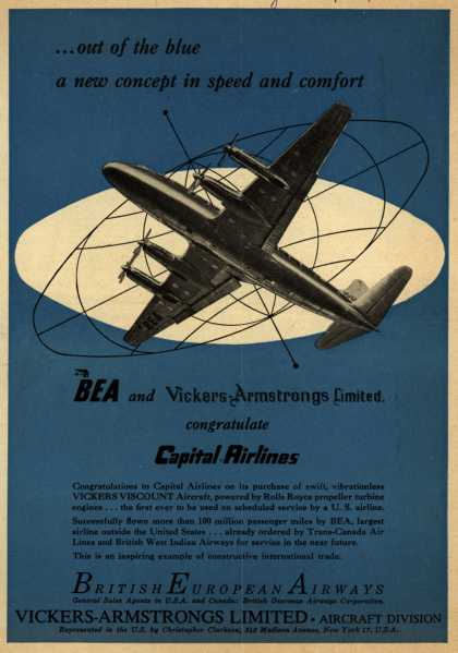 Capital Airlines – ...Out of the blue a new concept in speed and comfort (1954)