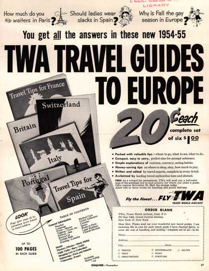Trans World Airline's TWA Travel Guides to Europe – TWA Travel Guides To Europe (1954)