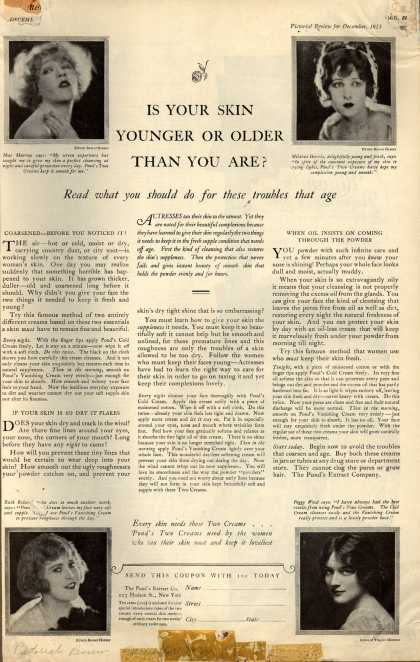 Pond's Extract Co.'s Pond's Cold Cream and Vanishing Cream – Is Your Skin Younger Or Older Than You Are? (1923)