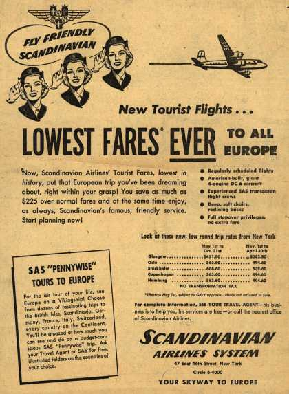 Scandinavian Airlines System's Tourist Fares – New Tourist Flights... Lowest Fares Ever To All Europe (1952)