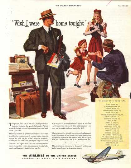 """The Airlines of the United State's Air Travel – """"Wish I were home tonight"""" (1945)"""