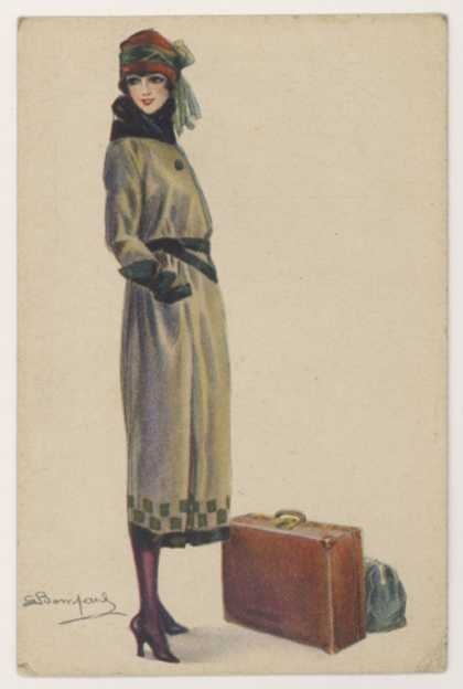 Young Woman Showing the Barrel-Line Silhouette of the Period