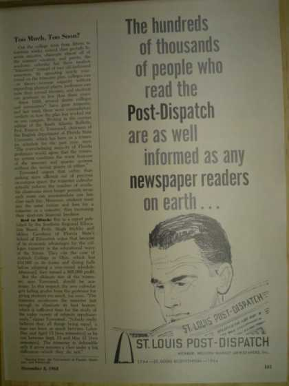 St. Louis Post Dispatch newspaper. The hundreds of thousands of people (1963)