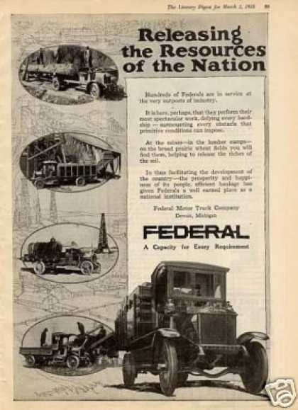 """Federal Truck Ad """"Releasing the Resources.. (1918)"""