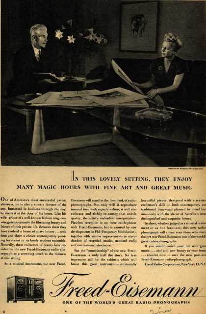 Freed-Eisemann's Radio – In This Lovely Setting, They Enjoy Many Magic Hours With Fine Art and Great Music (1945)