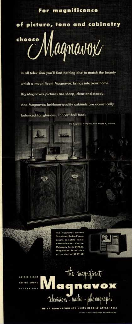 Magnavox Company's Radio Phonograph Television – For magnificence of picture, tone and cabinetry choose Magnavox (1952)
