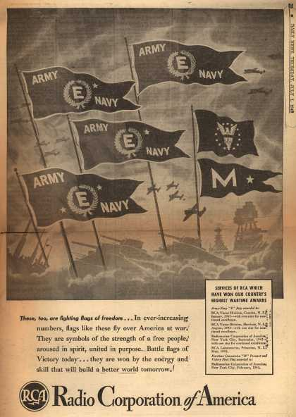 """RCA's Army Navy """"E"""" – These, too, are fighting flags of freedom... (1943)"""