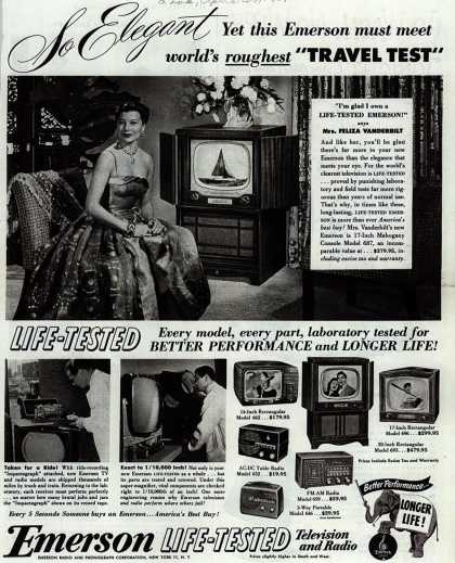 """Emerson Radio and Phonograph Corporation's Various – So Elegant, Yet this Emerson must meet world's roughest """"Travel Test"""" (1951)"""