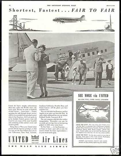 United Airlines Mainliner Plane World's Fairs (1939)