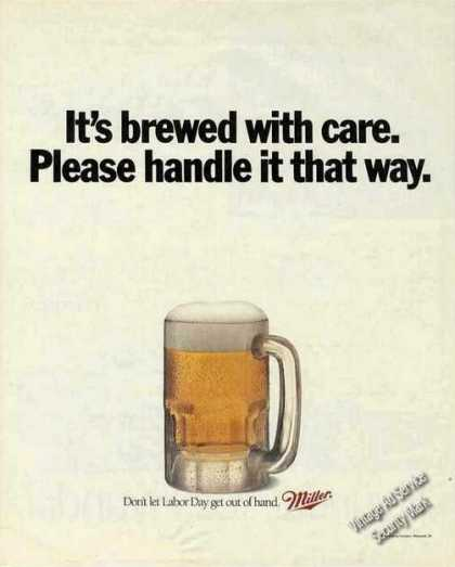 """Miller Beer """"Brewed With Care Handle That Way"""" (1991)"""