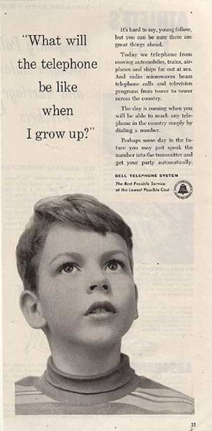 """Bell's """"What will the telephone be like when I grow up?"""" (1953)"""