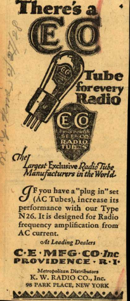 C.E. Manufacturing Co.'s Radio Tubes – There's a CeCo Tube for every radio (1928)