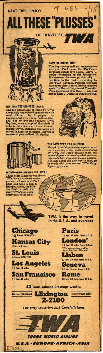 """Trans World Airline – Next Trip, Enjoy All These """"Plusses"""" Of Travel By TWA (1948)"""