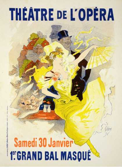 """Reproduction of a Poster Advertising the First """"Grand Bal Masque,"""" Theatre De L'Opera, Paris (1896)"""